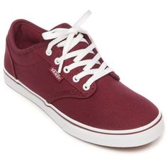Vans  Atwood Low ($38) ❤ liked on Polyvore featuring shoes, sneakers, canvas burgundy, burgundy sneakers, lacing sneakers, canvas low-top sneakers, low sneakers and low shoes