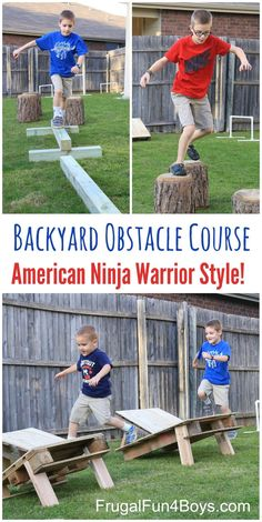 This American Ninja Warrior style back yard obstacle course has been a huge hit with our boys and with the neighbor kids too!  I knew that the boys would like this, but I underestimated just how much they would LOVE it!  They have been setting up obstacle courses and then doing them over and over …