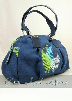 Kugeltasche, blau, grün, Federn, Stickerei