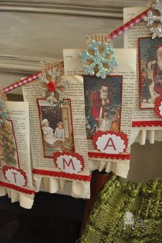 I love crafting our Christmas with things that will tell a story year after year. I made this vintage Merry Christmas banner with an old book of my grandmother'… Merry Christmas Banner, Christmas Paper Crafts, Christmas Books, Vintage Christmas Cards, Christmas Items, Christmas Love, Christmas Projects, Holiday Crafts, Christmas Holidays
