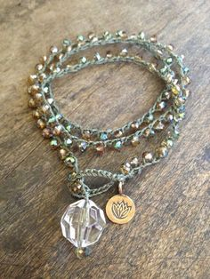 Beach Boho Crochet Wrap 3x Bracelet, 2x Anklet, Necklace Brass Lotus Flower. $28.00, via Etsy.