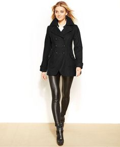 GUESS Wool-Blend Cutaway Peacoat on shopstyle.com