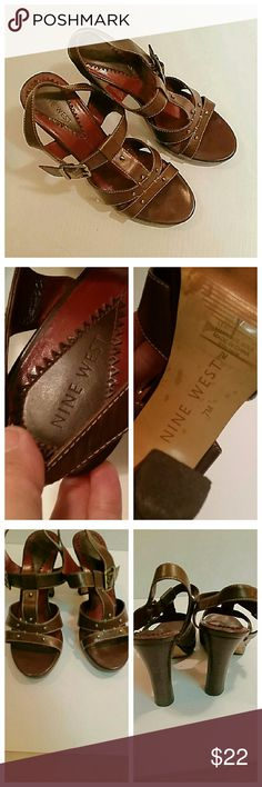 Nine West brown leather heels In excellent condition.  Adjustable straps around the ankle. Nine West Shoes Heels