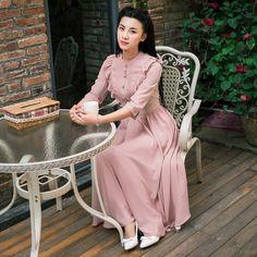 2015 Summer New Vintage Chiffon Women Dress Puff Sleeve Stand Collar High Waist Maxi Dresses Women LX042 vestidos femininos