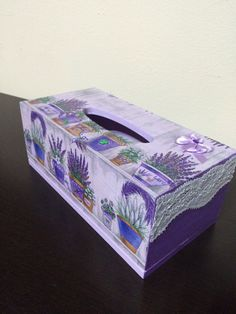 Purlpe wooden tissue box by Rocreanique