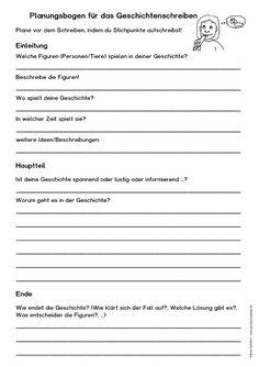 Geschichten schreiben (kostenloses Arbeitsblatt)