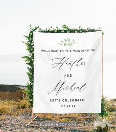 Wedding Backdrop for Reception, Wedding Decorations, Welcome Sign Wedding, Wedding Tapestry Backdrop, Welcome To Our Wedding Sign Fabric Small Wedding Decor, Backyard Wedding Decorations, Modern Minimalist Wedding, Minimal Wedding, Wedding Trends, Wedding Ideas, Minimalist Wedding Invitations, Wedding Ceremony Backdrop, Welcome To Our Wedding