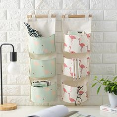 Cheap Storage Bags, Buy Directly from China Suppliers:Flamingo Pattern Cotton Linen Hanging Storage Bag 3 Pockets Wall Mounted Wardrobe Hang Bag Wall Pouch Cosmetic Toys Organizer Wall Hanging Storage, Hanging Organizer, Hanging Bar, Flamingo Pattern, Flamingo Print, Toy Containers, Over The Door Organizer, Diy Organisation, Closet Organization