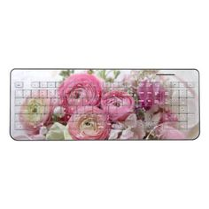 Ranunculus other spring flowers wireless keyboard - spring gifts beautiful diy spring time new year