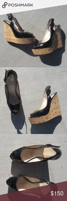 CHRISTIAN LOUBOUTIN SZ 7 Or 37 PATENT WEDGES SHOES Patent leather 100% authentic LOUBOUTIN shoes .. heel caps need to be replaced ! Reason for low price Christian Louboutin Shoes