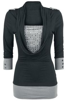 Studded Wide Collar - Girls longsleeve by Black Premium by EMP - Article Number: 263705 - from € - EMP Merchandising ::: The Heavy Metal Mailorder ::: Merchandise Shirts and Sexy Outfits, Casual Outfits, Fashion Outfits, Womens Fashion, Dark Fashion, Gothic Fashion, Longsleeve, Cute Tops, Blouses For Women