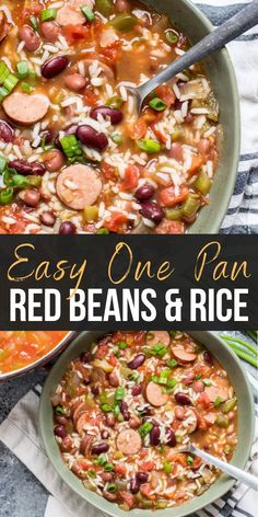 This easy One Pan Red Beans and Rice is an easy one pot meal perfect for busy weeknights! This easy One Pan Red Beans and Rice is an easy one pot meal perfect for busy weeknights! Red Beans And Rice Recipe Easy, Easy Rice Recipes, Pork Recipes, Cooking Recipes, Recipes With Red Beans, One Pot Recipes, Recipies, Mince Recipes, Cookbook Recipes