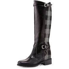 Charles David Pirella Plaid Flat Riding Boot ($315) ❤ liked on Polyvore featuring shoes, boots, knee-high boots, black knee high boots, gray riding boots, leather riding boots, black boots and flat leather boots