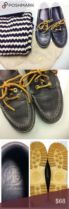 """Tory Burch Navy Leather Boat Shoes Tory Burch navy leather boat shoes with brown leather laces and gold tone hardware. Rubber soles. Logo imbedded in soles, stamped on insoles, and affixed on heels. No visible size marker, but estimate size 8. Insoles measure approximately 9.5."""" They could use a conditioning or piling, and they would be great. Areas most in need of conditioning are the opening where you foot slides in. The color would pop more there if conditioned. Priced due to need for…"""