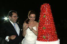 Strawberries Tower Wedding Cake
