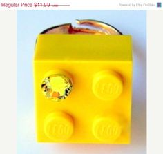 ON SALE Yellow LEGO R brick 2x2 with a Diamond by MademoiselleAlma, $8.39