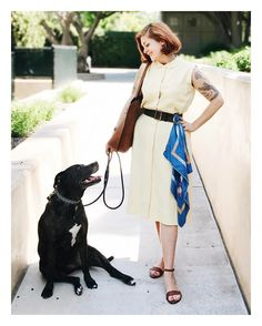 """506 Gostos, 13 Comentários - Jessica Parker (@noaccountingfortaste) no Instagram: """"Favorite canine helper assisting me today 🐶 Maggie's human is wearing a yellow #1940s gabardine…"""""""