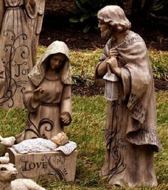 Large Nativity Scene Statues Polystone Resin Outdoor-Joseph Mary baby Jesus