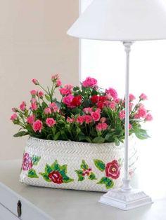 Flores y lampara colorido muy bonito