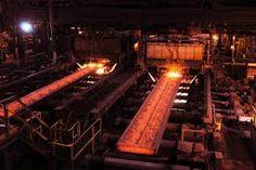 red hot steel slab in a steelmaking plant