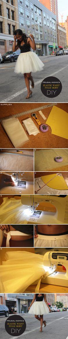 Frugal-nomics DIY : ELASTIC WAIST TULLE SKIRT | Frugal-nomics.com