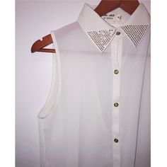White see through no sleeve top White see through no sleeve top.                                                                                                                           Fast shipper  Accept reasonable offers  I do bundle discounts too                                 No trades Tops Button Down Shirts