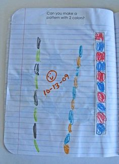 Great activities for patterning, sorting, geometry, pattern blocks etc. Preschool Journals, Interactive Math Journals, Math Notebooks, Science Journals, Teaching Patterns, Math Patterns, Teaching Ideas, Math Resources, Math Activities