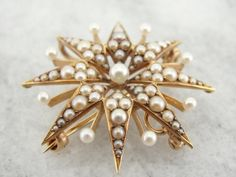 Antique Seed Pearl Starburst Brooch Victorian Gold by MSJewelers, $815.00