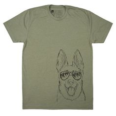 Men's Aviator Shades German Shepherd Dog T-Shirt  by Inkopious