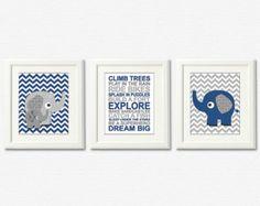 blue zag elephant baby room | Navy and grey elephant Nursery Art Print Set -8x10- Baby boy Room ...