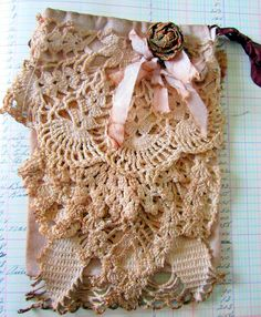 Walnut Stained  Ditty Bag Just Lace. $12.00, via Etsy.    Beth Leintz