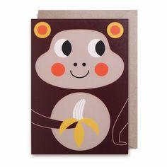 Greeting #card Monkey by #Ingela P Arrhenius from www.kidsdinge.com https://www.facebook.com/pages/kidsdingecom-Origineel-speelgoed-hebbedingen-voor-hippe-kids/160122710686387?sk=wall
