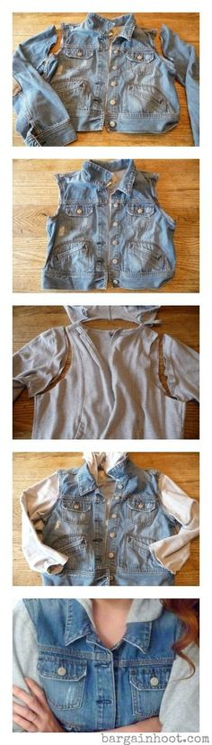 New Sewing Clothes Refashion Reuse Old Jeans Ideas Old Clothes, Sewing Clothes, Revamp Clothes, Sewing Jeans, Clothes Crafts, Diy Kleidung, Diy Vetement, Refashioning, Diy Clothing