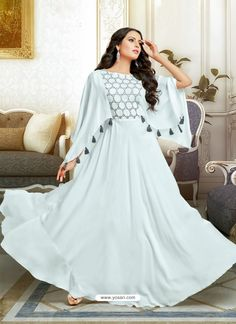Attractive Off White Muslin Gown Designer Party Wear Dresses, Kurti Designs Party Wear, Indian Designer Outfits, Designer Gowns, Casual Gowns, Stylish Dresses, Fashion Dresses, Sleeves Designs For Dresses, Dress Neck Designs