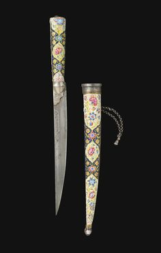 A ZAND ENAMELLED AND GILT-COPPER DAGGER (KARD) AND SCABBARD, PERSIA, SIGNED 'YA ALLAH AZIZ' AND DATED 1207 AH/1792-3 AD, WITH OTTOMAN BLADE, TURKEY, DATED 1261 AH/1845-6 AD