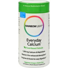 Rainbow Light Everyday Calcium Description: - Bio-Balanced Systems - Food-Based Formula - 1,200 mg Calcium and Magnesium - 1,000 IU of Vitamin D - Enzymes and Botanicals The high-potency calcium/magne