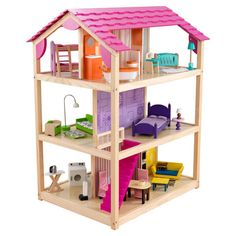 """KidKraft So Chic Dollhouse at Wayfair.com. Save 34% Reg $293.00, Now $196.00. (8/10/13). Product Details: (SKU #: KK2337) Three levels and 10 rooms; 45 Pieces of furniture; Rolls on casters;Multi play from all 4 open sides. Accommodates fashion dolls up to 12"""" tall. Assembly required 90 Days warranty Product weight: 83 lbs Dimensions: 46.25"""" H x 27.25"""" W x 34.25"""" D"""