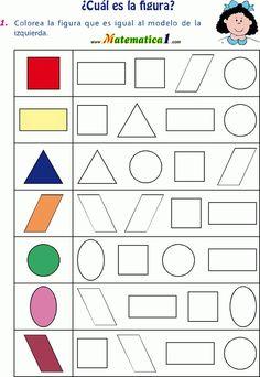Colorear figura igual al modelo … Shapes Worksheets, Kids Math Worksheets, Preschool Learning Activities, Preschool Printables, Kindergarten Math, Preschool Activities, Math For Kids, Kids Education, Kids And Parenting