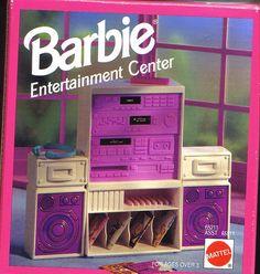Barbie Entertainment Center - similar to 1989 version. Barbie 90s, Barbie Room, Barbie Doll House, Vintage Barbie Dolls, Vintage Toys, Barbie Stuff, Barbie Shoes, Barbie Clothes, Barbie House Furniture