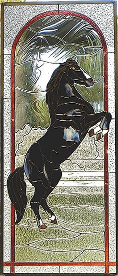 I love the background glass that is used for the picture of this Black Stallion. Hard