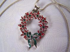 Poinsettia Wreath Pendant with Swarovski Crystals by lindasorigjewelry on Etsy