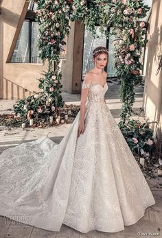 tony ward mariee 2019 off the shoulder sweetheart neckline full embellishment romantic princess ball gown a  line wedding dress chapel train (2) mv -- Tony Ward La Mariée Spring 2019 Wedding Dresses | Wedding Inspirasi #wedding #weddings #bridal #weddingdress #bride ~