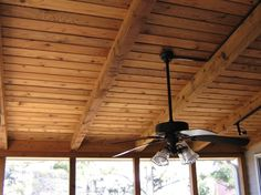 Ceiling idea for screen porch with outdoor ceiling fan.
