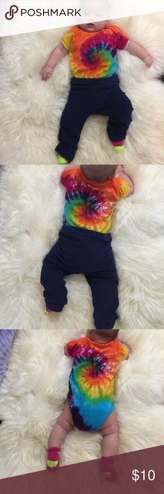 American Apparel Rainbow TieDyed Onesie 6-12M Jammin on the Haight Tie die California style. Unisex 100% Cotton Gently used by one clean baby girl. NO stains spit up or tears. Nice quality name brand. Comfortable, easy to match. Fun Summer find! #BabyZiaDara #AmericanApparel #TieDye #babygirlclothes  American Apparel One Pieces