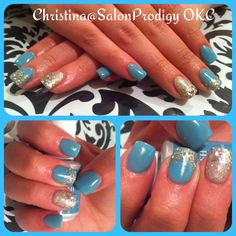 Tiffany Blue nails with glitter!