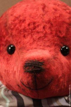 Мишка Улыбашкин - бордовый,Плюшевый мишка,красный мишка,мишка с опилками