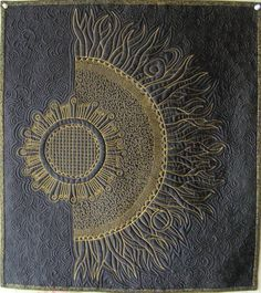 Art quilt wall hanging Quilted Sunflower Zentangle by marytequilts