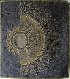Edredón de arte, colgante de pared - acolchado girasol Zentangle
