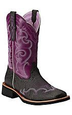 Ariat Unbridled Women's Rally Charcoal Elephant Print with Fig Top Square Toe Western Boot