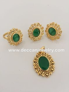 Sajal emerlad faux stone pendant earrings and finger ring set - Deccan Pearls and Jewellery 24k Gold Jewelry, Gold Jewelry Simple, Gold Jewellery Design, Gold Bangles, Jewelry Sets, Jewelery, Jewelry Holder, Gold Ring Designs, Jewelry Making